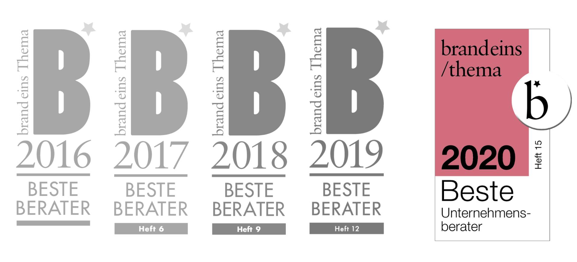 Brand Eins - Beste Berater 2016, 2017, 2018, 2019 und 2020